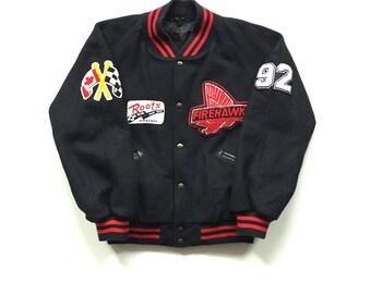 1992 ROOTS canada firehawk speedway racing jacket size medium wool letterman button up