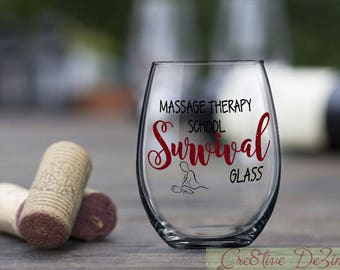 Gift for Massage Therapist, Massage Therapy School Survival Glass, Funny Massage School Glass, Masseuse Student Gift, Therapist Gift Idea