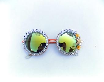 Phish You Enjoy Myself hand decorated sunglasses, Phish embellished sunglasses, funky festival accessory