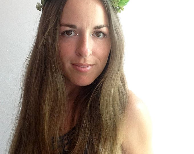 Succulent headpiece for music festivals, burning man, weddings, or photo shoots, floral crown with green succulents