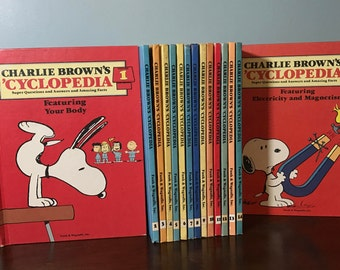Charlie Brown's 'Cyclopedia Complete Book Set - 15 Volume - Vintage Encyclopedia's - Snoopy - Homeschool - Reference - Illustrations - Decor