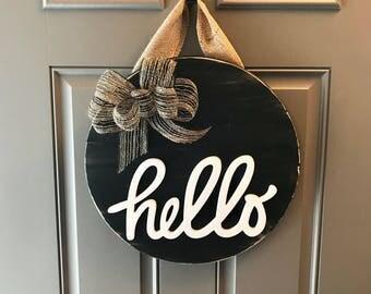 Modern Door Decor, Door Hanger, Hello Door Sign, Black Door Hanger, All Year Door Wreath, Front Door Hanging, Round Wood Sign, Hello Wreath