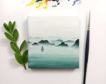 Miniature calm seascape. Acrylic painting on 3x3 inch canvas with ORIGINAL.
