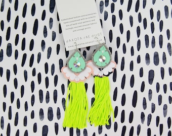 NEON EARRINGS in fluoro yellow, peach and minty green. Light weight, textile earrings, cut from recycled fabric and stitched by hand.
