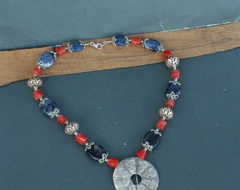 Unique Metalwork Statement Salmon Red Mediterranean Coral Necklace, Dark Blue Sodalite Gemstone Necklace, Sterling Silver Ball Necklace