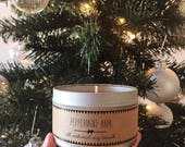 PEPPERMINT BARK Hand Poured Soy Candle. Natural Candle. Eco Friendly. Fall Candle. Winter Candle.
