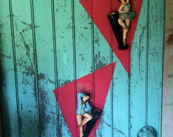 Pair Of Mid Century Male and Female Ballerina Chalkware Wall Pockets