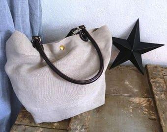 Raw linen handbag/shoulder bag