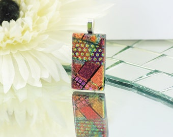 Fused Glass Pendant-Elegant Dichroic Glass Necklace-Brown,Abstract - Orange and Gold Oblong Shaped Pendant-Dichroic Glass Jewelry. JBT555