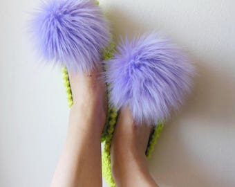 Furry Slippers, Womens Slippers, Faux Fur Pom-Pom, Pointed Toe, Non-Slip, Kiwi Green, COTTON House Slippers, Gift Wrapping, Knitted slippers