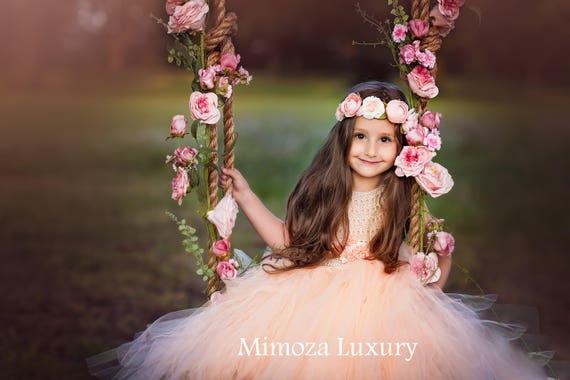 Flower girl dress, blush peach tulle flower girl dress, handmade blush wedding tulle dress, hand knit tutu dress in blush peach pale peach