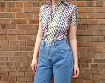 1970s Floral Sheer Top, Psychedelic flowers, Stretch Nylon, Striped Blouse, Short Sleeve, pop art, Women's size S