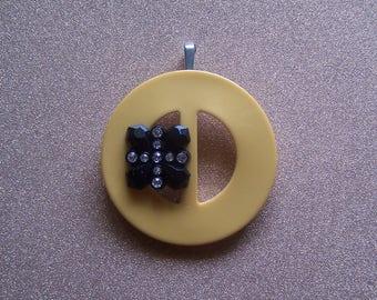 Vintage yellow Bakelite buckle black earrings with rhinestones up cycled repurposed pendant necklace