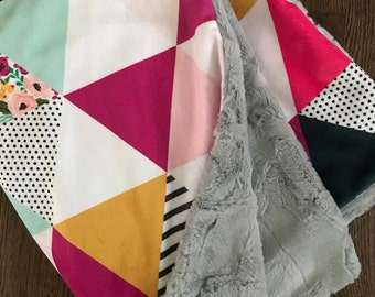 Floral/Stripes triangle Patchwork Double Cuddle Minky Blanket