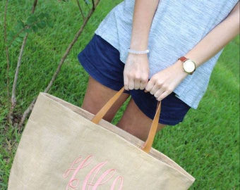 ONLY 19.98!!!!  Monogram Jute Tote Burlap Bag, MudPie Brand, Bridesmaid Gift, Sorority, Monogrammed Tote, Burlap Bag