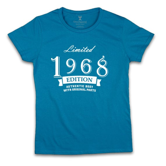 Limited Edition 1968 crew t shirt 50th birthday gift for woman daughter sister friend mother mom fiftieth birthday size S to 2XL