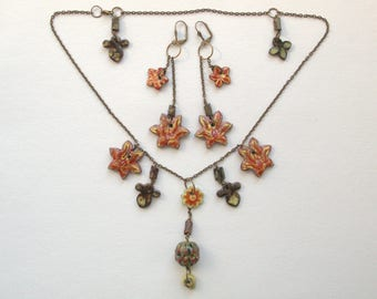 """Ceramic jewelry, Artistic jewelry, Jewelry necklace, Flower necklace, Set of Ceramic Jewelry, Necklace and earrings """"Sultry lady"""""""