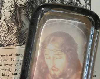 Paperweight, Antique Glass, Jesus Crucifixion, Passion of Christ, INRI Crucifix, Devotion, Religious Gift Sepia Black White Victorian Gothic
