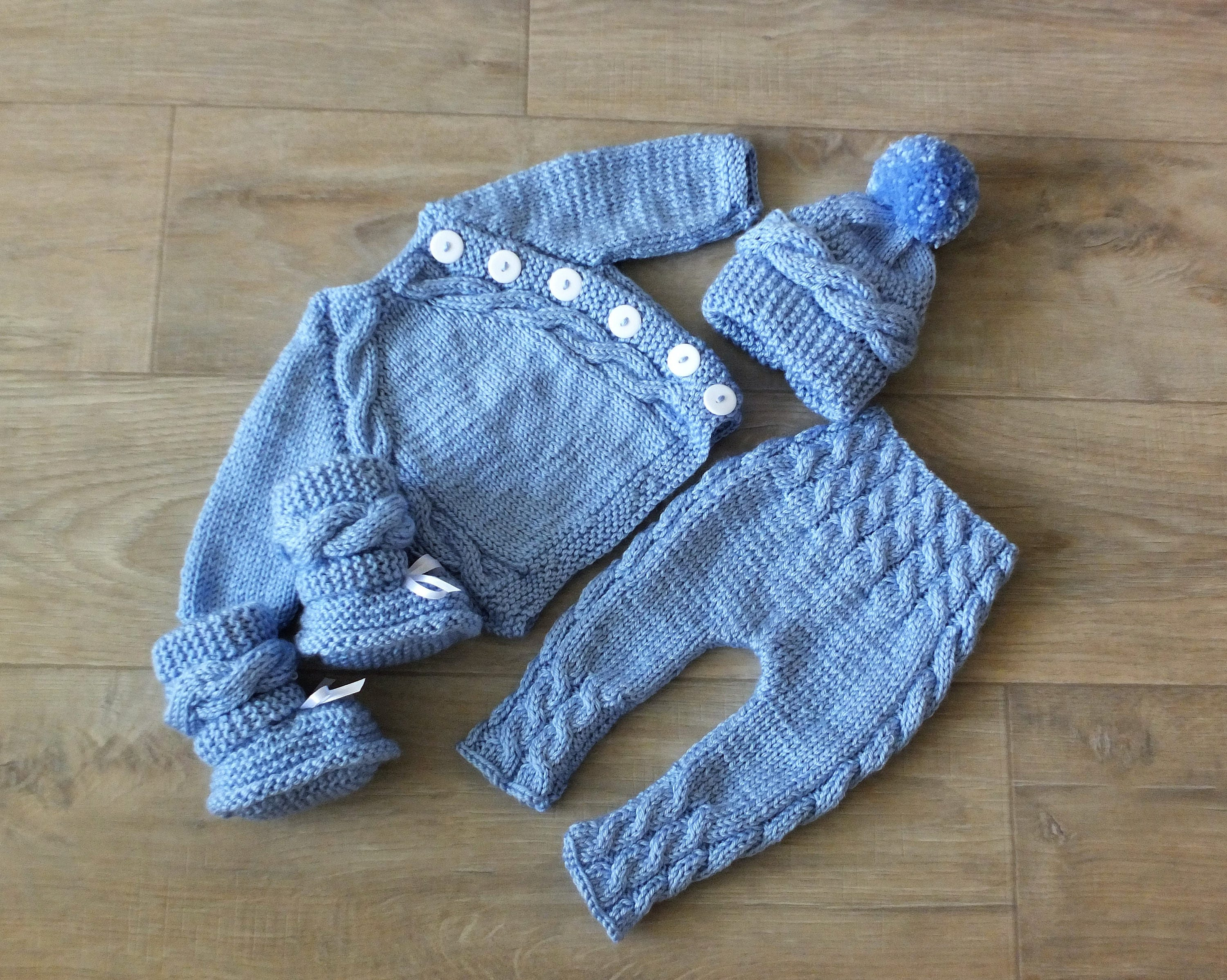 Knitted Baby boy ing home outfit Knit Baby Outfit