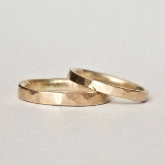 Wedding Band Set - Two Hammered 9 Carat Yellow Gold Rings