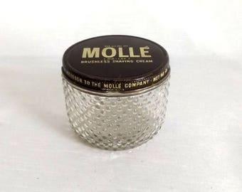CIJ SALE Vintage Molle' Jar - Hobnail Glass Jar for Molle' Brushless Shaving Cream - Thatcher Glass 8 oz Jar w Original Lid - Vanity Jar