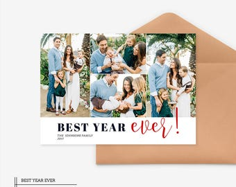 Christmas Card Template for photographers PSD Flat card - Christmas Card - Photoshop Template - CD057