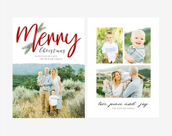 Christmas Card Template for photographers PSD Flat card - Christmas Card - Photoshop Template - CD075