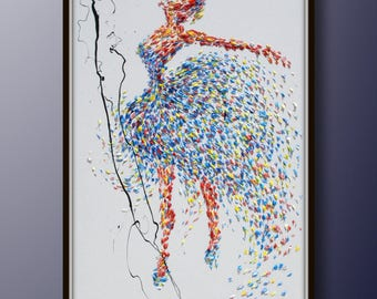 "Ballerina Painting 60"" original painting on canvas, figure painting, thick oil paint, extremely special, Express Shipping, By Koby Feldmos"