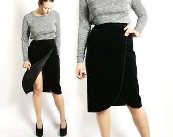 Vintage 80's Black Velvet Wrap Skirt High Waisted