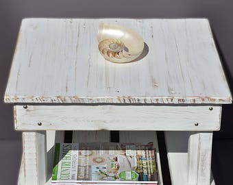 Bespoke Rustic Reclaimed Wood Coastal Side Table with Undershelf Storage & Decorative Silver Tacks Handmade to Order