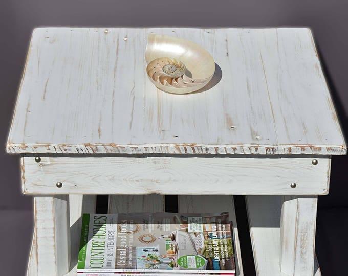Bespoke Rustic Reclaimed Wood Coastal Side Table with Undershelf Storage & Decorative Silver Tacks Handmade to Order
