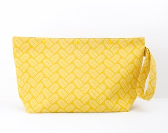 Mustard yellow 3 skein project bag, geometric print medium knitting bag with snaps, minimal crochet storage