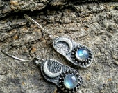 MOONSTONE & Silver CRESCENT MOON Earrings- 925 Silver, Sacred Jewelry, Wiccan, Pagan, Druid, Celtic, Magical, Goddess, Healing 26.00US