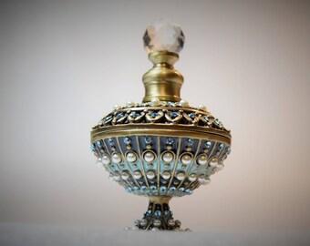 Two's Company Jeweled Enamel Brass Perfume Bottle