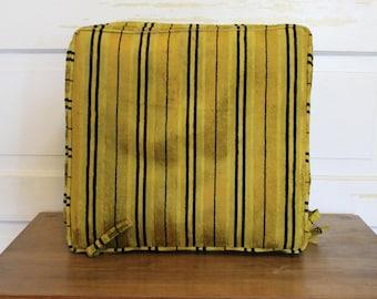 Vintage Chair Cushions in Velvet Stripe - Gold & Black