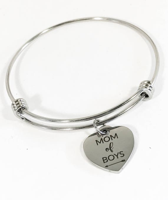 Mom Of Boys Bangle, Mom of Boys Jewelry, Gift For Mom, Mom Jewelry Gift, Boys Mom Gift For Her, Girlfriend Gift, Mom Gift