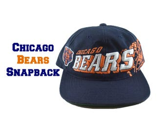 90s CHICAGO BEARS Snapback Hat Embroidred NFL Football Pro Line Navy Blue Orange Sports Adjustable Pro Green Bill 1990s Embroidery