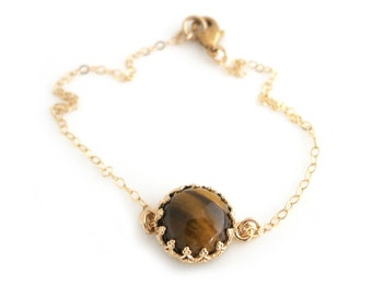 Tiger Eye Bracelet, Brown Bracelet, Gold Bracelet, Brown Tiger Eye Bracelet, Bridal Bracelet, Brown Wedding Bracelet, Tiger's Eye, For Her