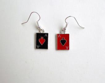 Harley Quinn Charm earrings Ace of spades Fandom jewelry  Punk earrings Red and Black Card game earrings Poker Gambling Motorhead Joker Gift