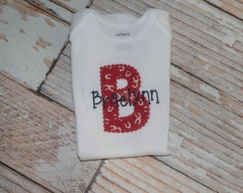 Horseshoe Personalized Bodysuit with Red and Navy and Baby's Initial for Newborn baby