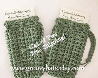 Set of Two Massaging Soap Saver Bags in Sage Green - Vee Stitch - Free Shipping - From GroovyHats