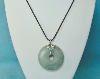 Green Jasper Donut Spiral Silver Pendant Necklace