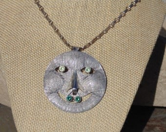 Oswaldo Guayasamin ~ Large Vintage Silver Tribal Face Pendant with Gemstone Eyes and Gemstones on Septum in Nose on Sterling Necklace