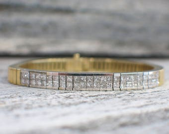 18K Yellow and White Gold Two Tone Gold Princess Cut Diamond Bracelet
