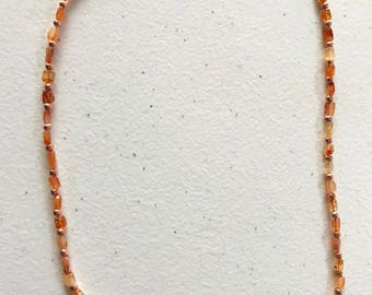 """20.5"""" carnelian and copper necklace"""