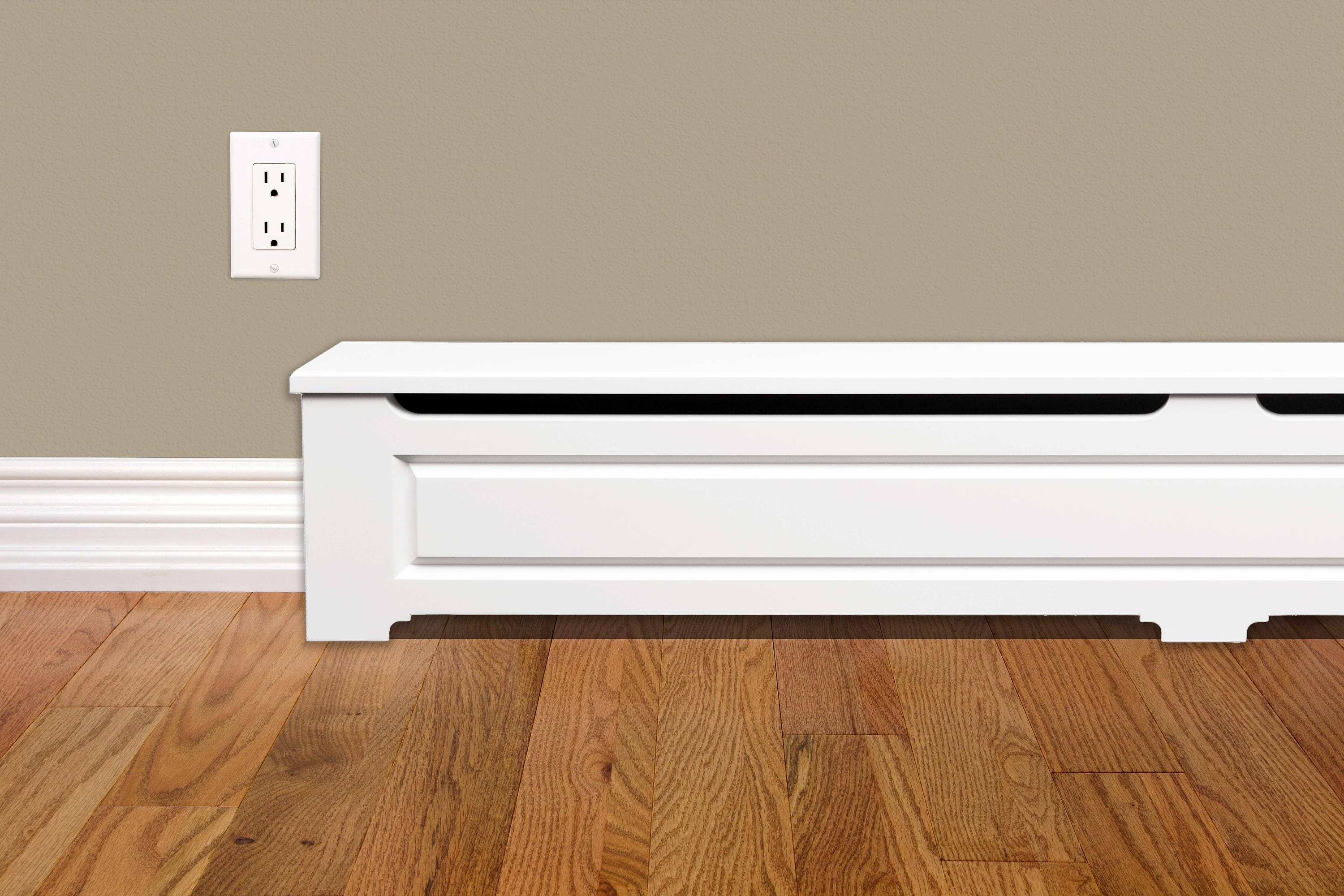 Craftsman Style 5 Ft Wood Baseboard Heater Cover Kit In White