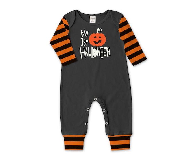 Newborn First Halloween Romper Black and Orange Pumpkin, Baby Unisex Costume Black and Orange Stripes, Jack-O-Lantern, Tesababe 81BKOBOE5C