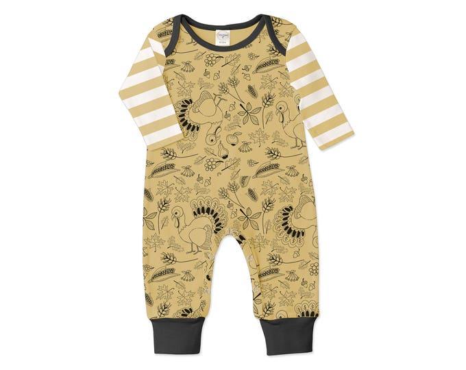 Newborn Thanksgiving Romper Black and Yellow, Baby Boy and Girl Thanksgiving Bodysuit, Turkey, Yellow Stripes, Tesababe RP810TTIM0000