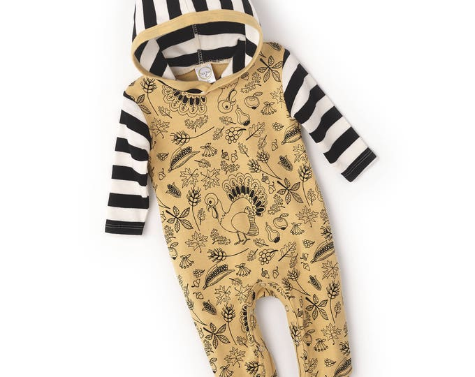 SALE! Newborn Thanksgiving Romper Hooded, Baby Boy Girl Thanksgiving Bodysuit, Hoodie, Turkey, Yellow Black Stripes Tesababe RP81HTTIB0000