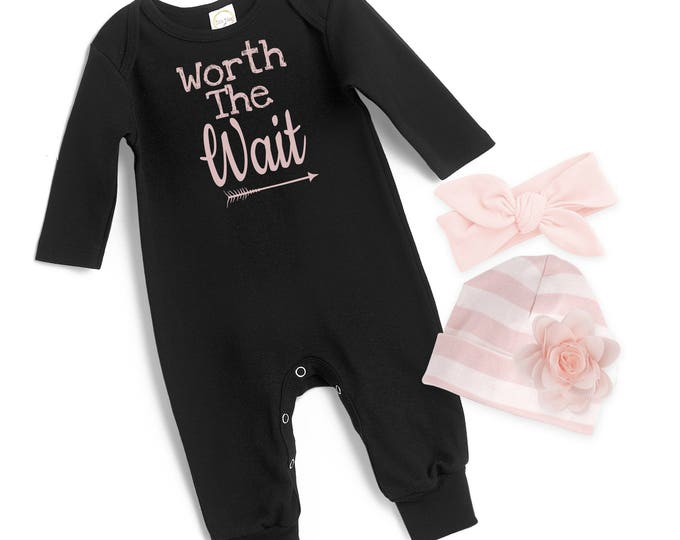 Baby Girl Black Romper, Newborn Girl Take Home Romper, Worth the Wait Baby Bodysuit, Black Long Sleeve Romper, TesaBabe